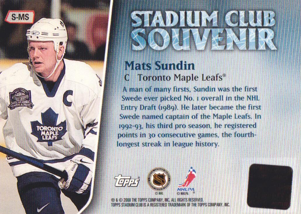1999-00 Stadium Club Souvenirs #SMS Mats Sundin J back image