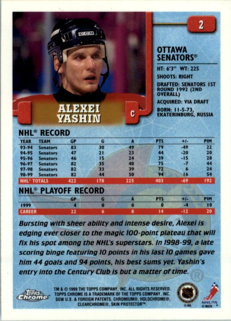 1999-00 Topps Chrome #2 Alexei Yashin back image