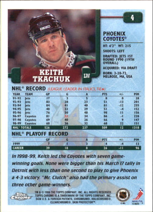 1999-00 Topps Chrome #4 Keith Tkachuk back image