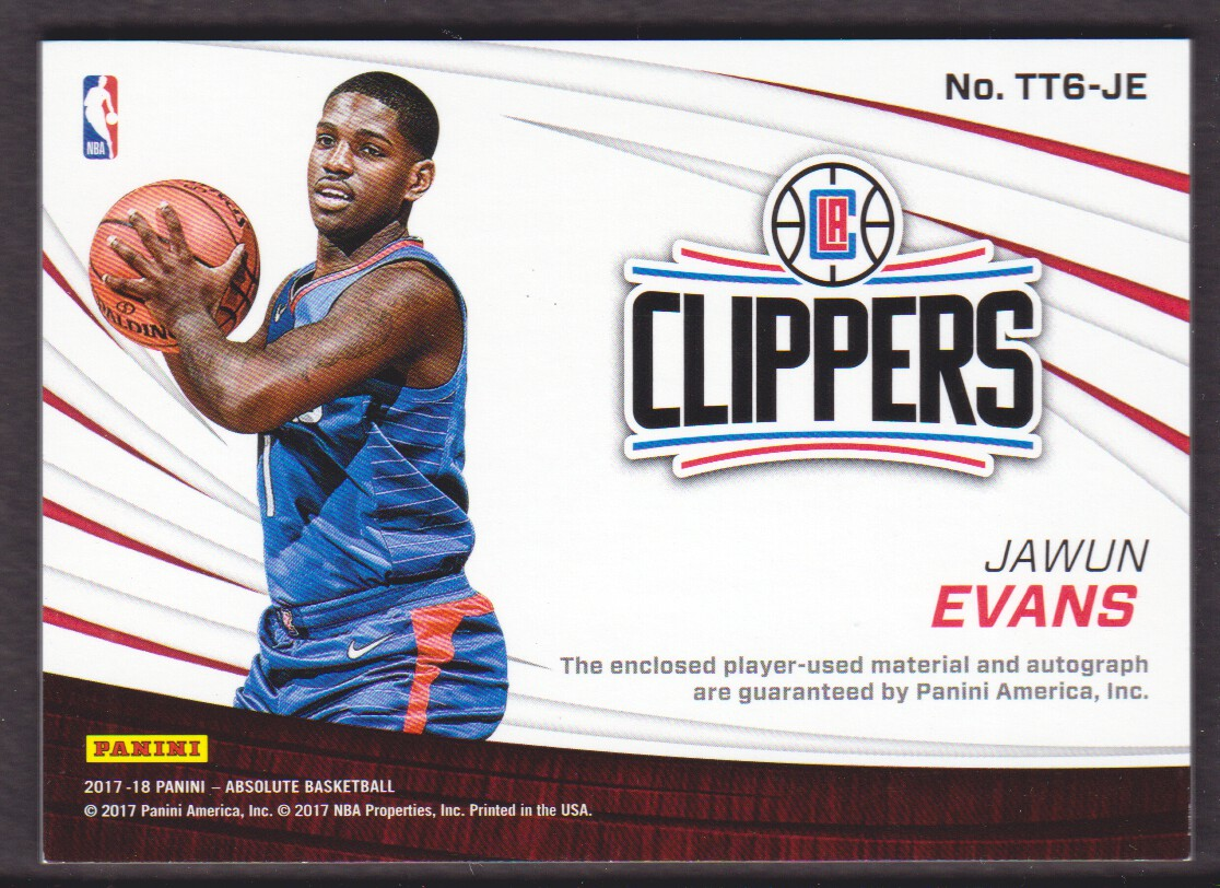 2017-18 Absolute Memorabilia Tools of the Trade Six Swatch Signatures #23 Jawun Evans back image