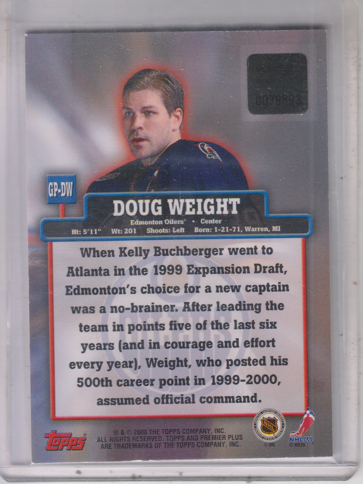1999-00 Topps Premier Plus Game Pieces #GPDW Doug Weight J back image