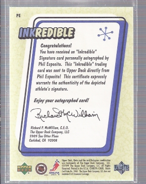 1999-00 Upper Deck Retro Inkredible #PE Phil Esposito back image