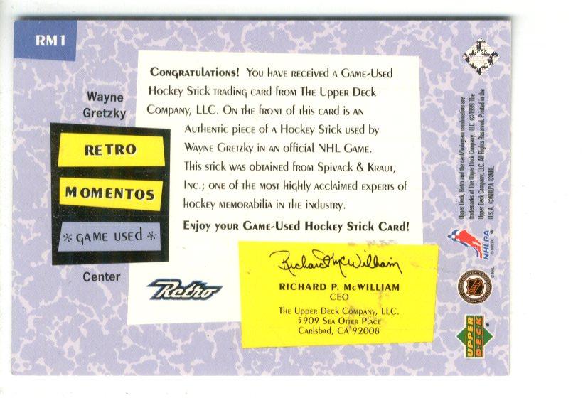 1999-00 Upper Deck Retro Memento #RM1 Wayne Gretzky back image