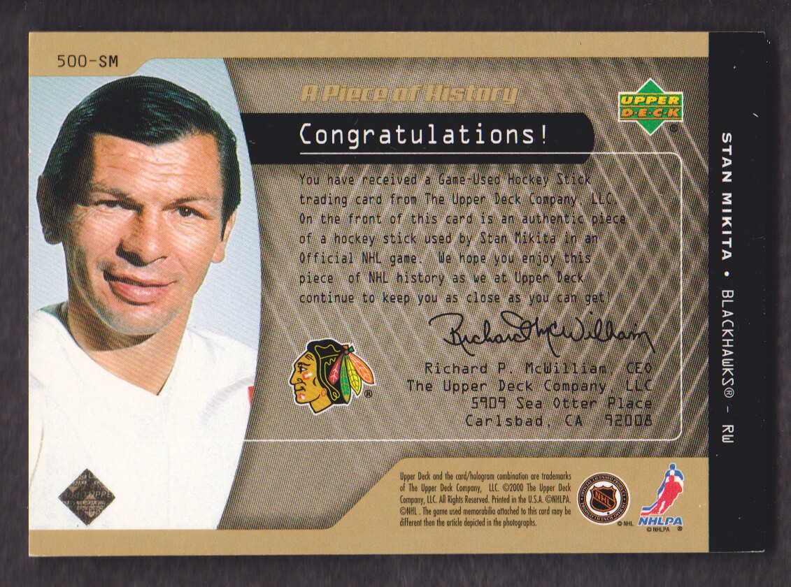 1999-00 Upper Deck A Piece of History 500 Goal Club #500SM Stan Mikita back image