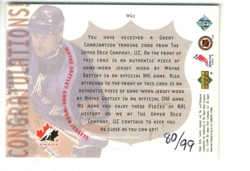 1999-00 Upper Deck Game Jerseys #WG2 Wayne Gretzky Dual/99 back image