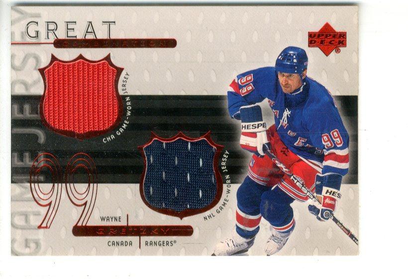 1999-00 Upper Deck Game Jerseys #WG2 Wayne Gretzky Dual/99