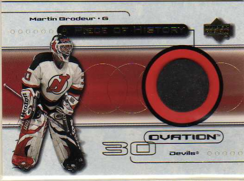 1999-00 Upper Deck Ovation A Piece Of History #MB Martin Brodeur