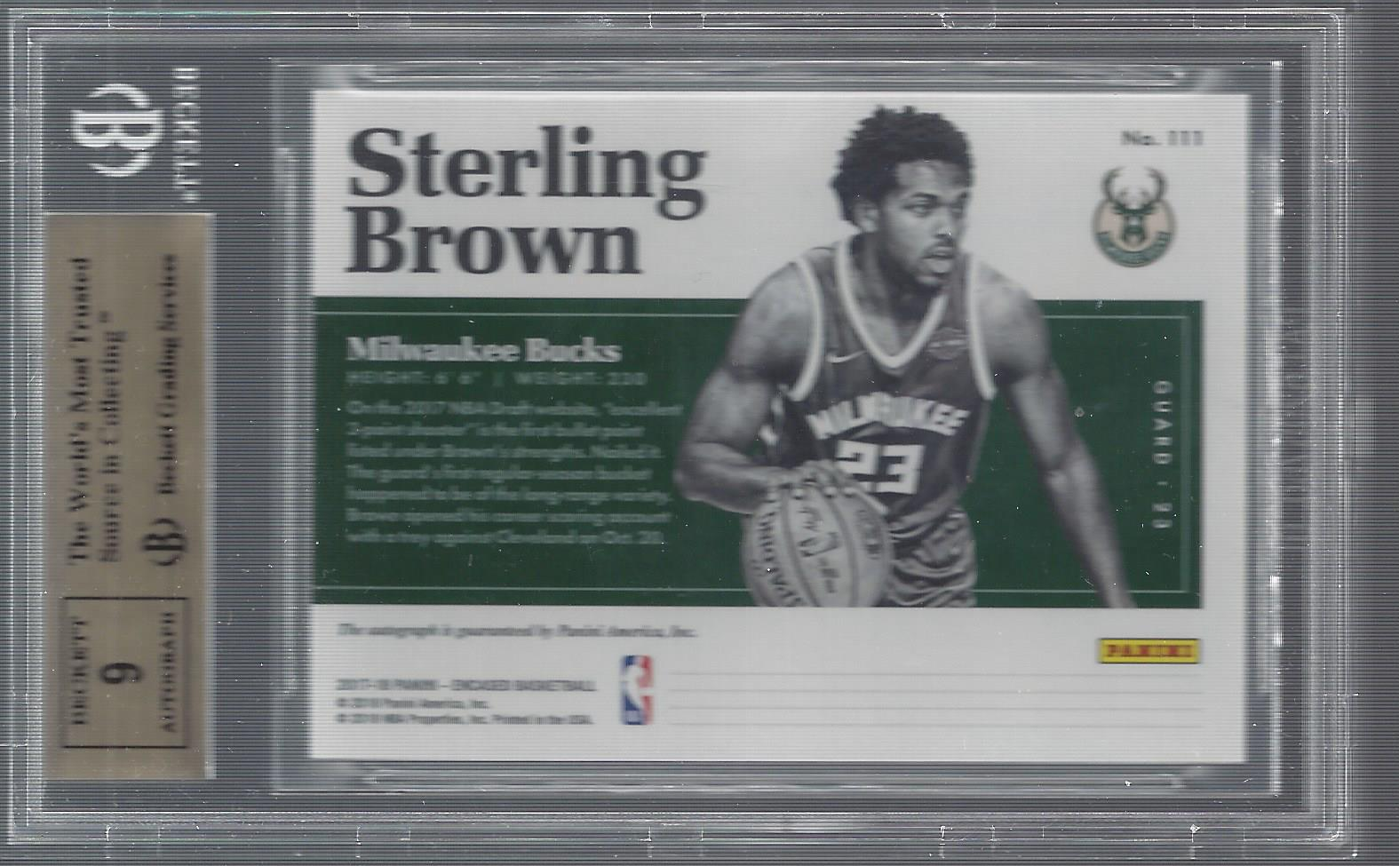 2017-18 Panini Encased #111 Sterling Brown AU RC back image