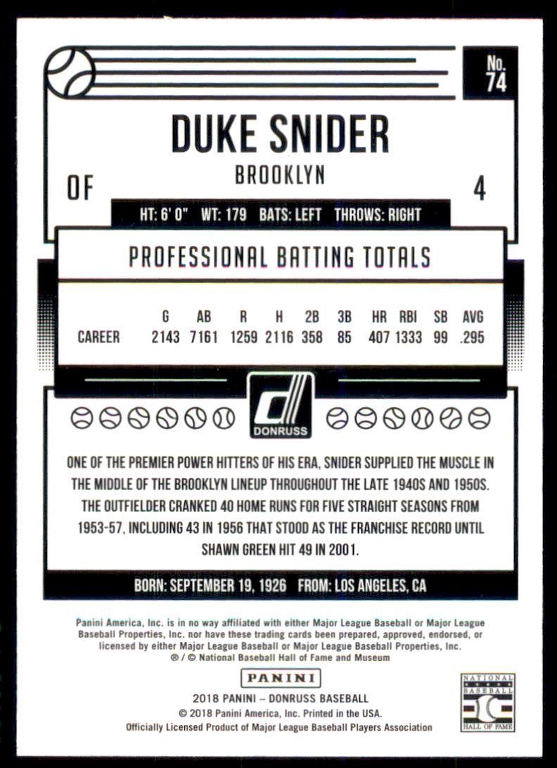 2018 Donruss Season Stat Line #74 Duke Snider/43 back image