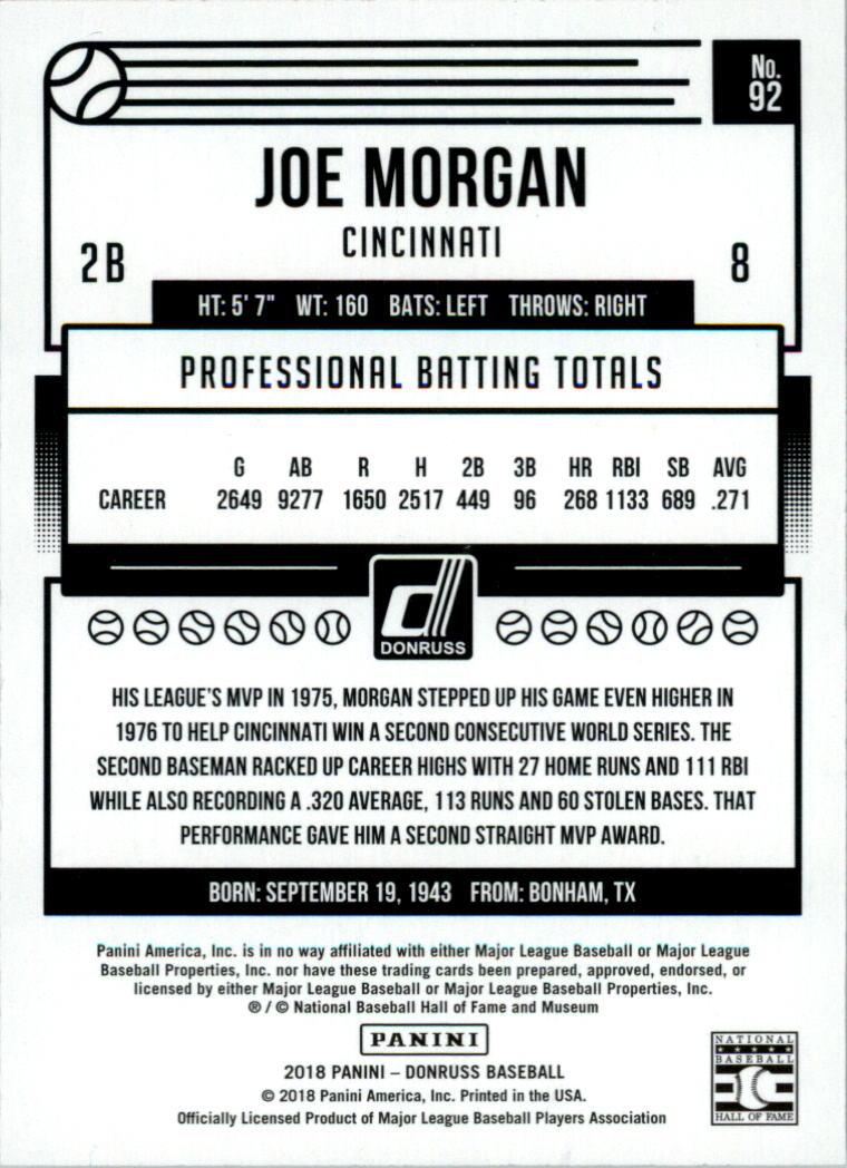 2018 Donruss Season Stat Line #92 Joe Morgan/111 back image