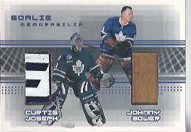2000-01 BAP Memorabilia Goalie Memorabilia #G13 Johnny Bower Stick/Curtis Joseph Stick