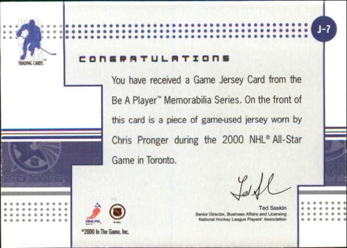 2000-01 BAP Memorabilia Jersey #J7 Chris Pronger back image