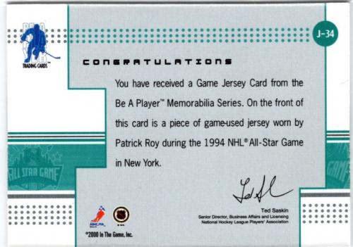 2000-01 BAP Memorabilia Jersey #J34 Patrick Roy back image