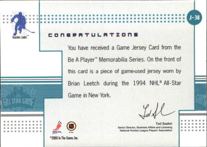 2000-01 BAP Memorabilia Jersey #J38 Brian Leetch back image