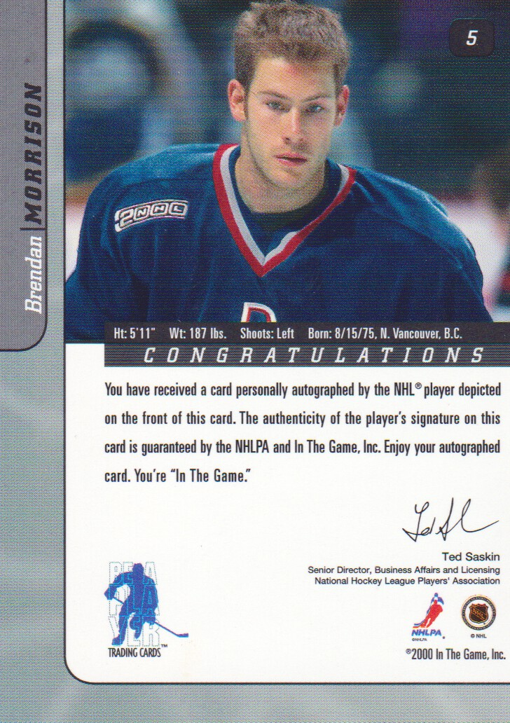 2000-01-BAP-Signature-Series-Autograph-Hockey-Cards-Pick-From-List miniature 3