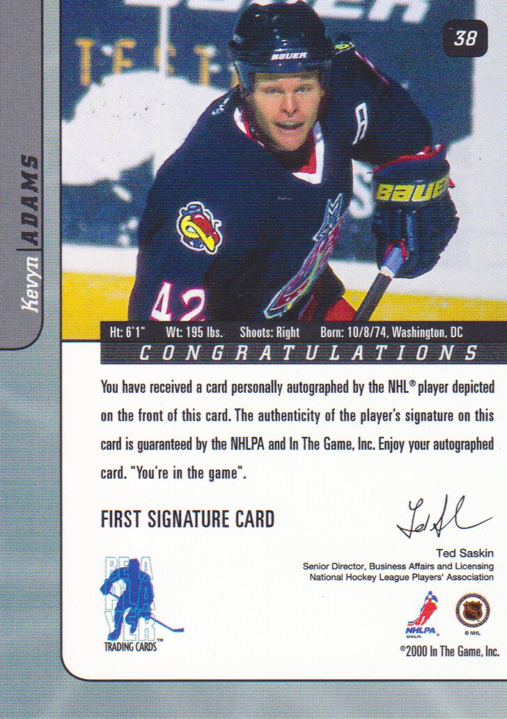 2000-01-BAP-Signature-Series-Autograph-Hockey-Cards-Pick-From-List miniature 9