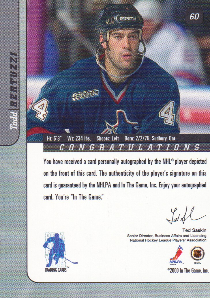 2000-01-BAP-Signature-Series-Autograph-Hockey-Cards-Pick-From-List miniature 11