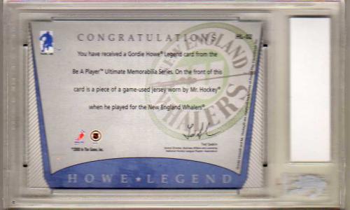 2000-01 BAP Ultimate Memorabilia Gordie Howe Retrospective Jerseys Autograph #GH2 New England back image