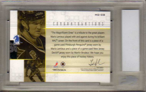 2000-01 BAP Ultimate Memorabilia Magnificent Ones #ML3 Martin Brodeur/Mario Lemieux back image
