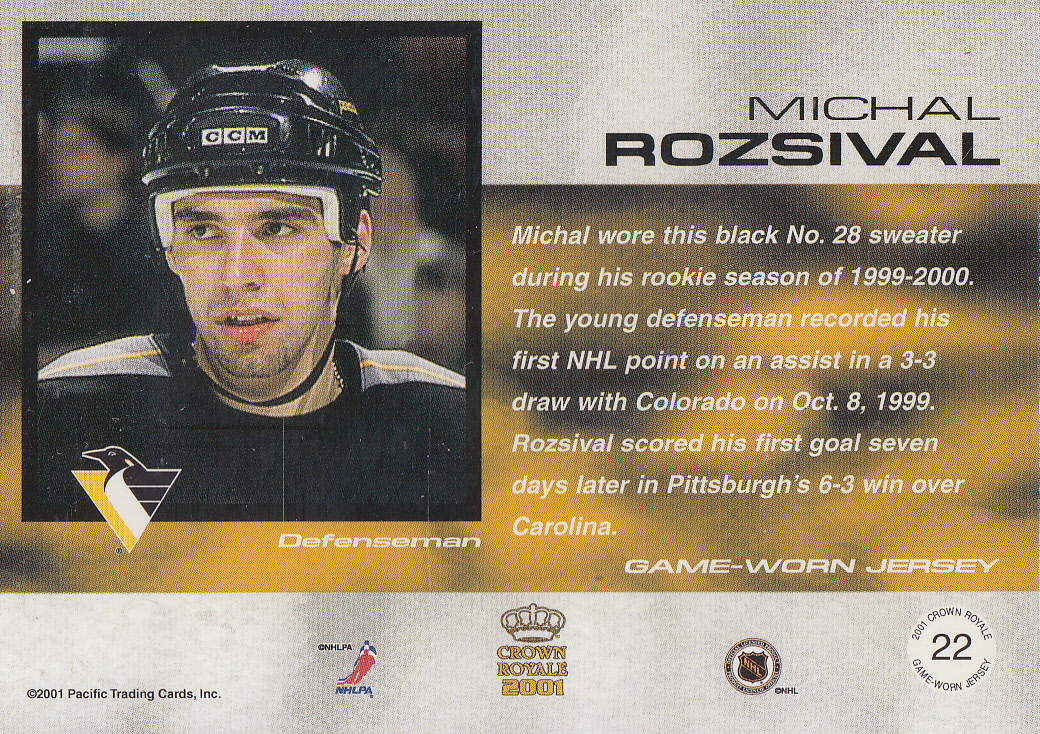 2000-01 Crown Royale Game-Worn Jersey Patches #22 Michal Rozsival/144 back image