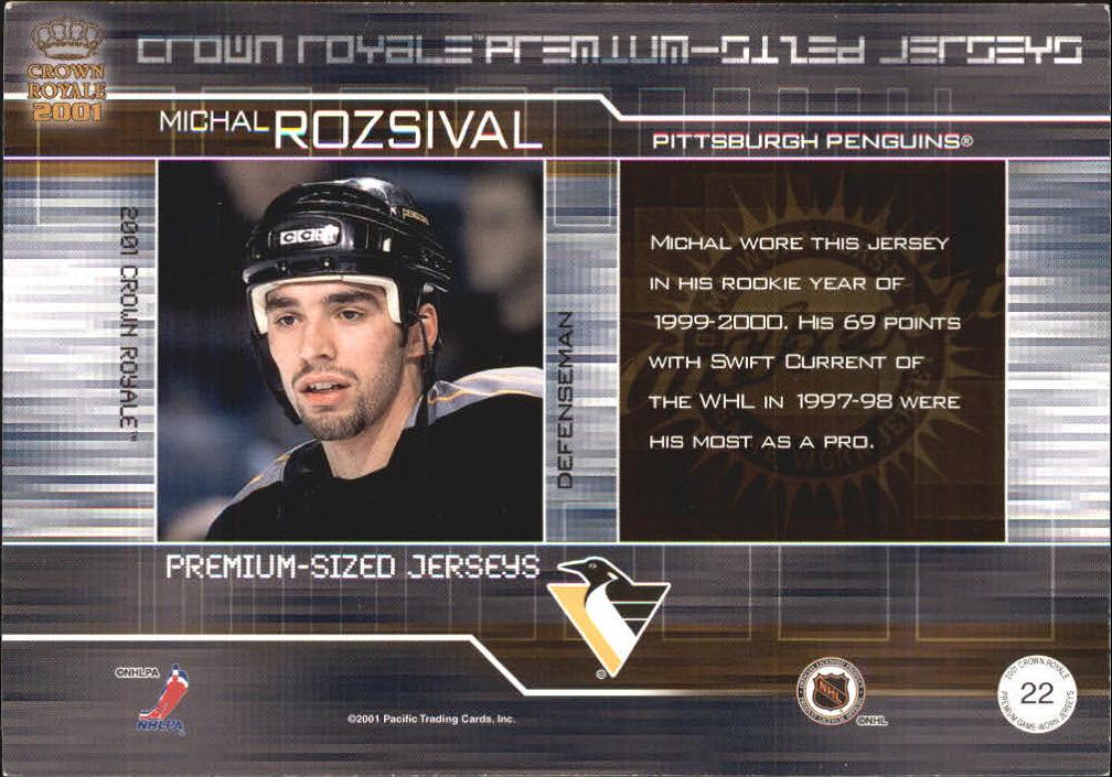 2000-01 Crown Royale Premium-Sized Game-Worn Jerseys #22 Michal Rozsival/357 back image