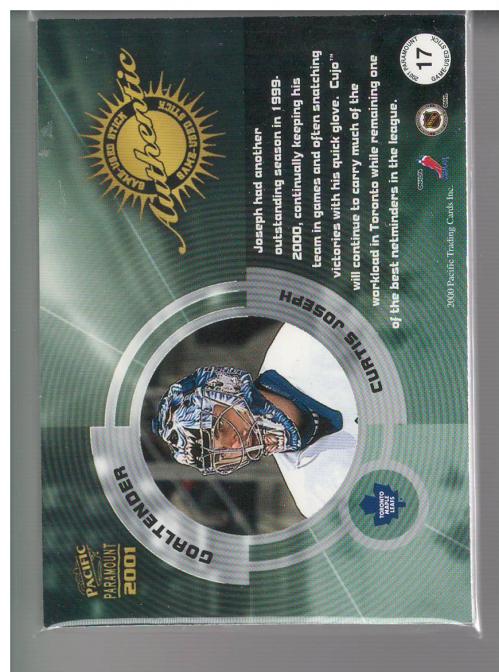 2000-01 Paramount Game Used Sticks #17 Curtis Joseph/150 back image