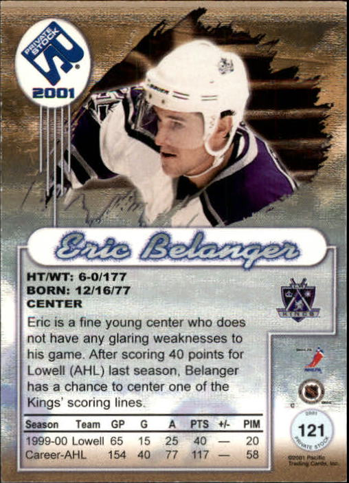 2000-01 Private Stock #121 Eric Belanger RC back image