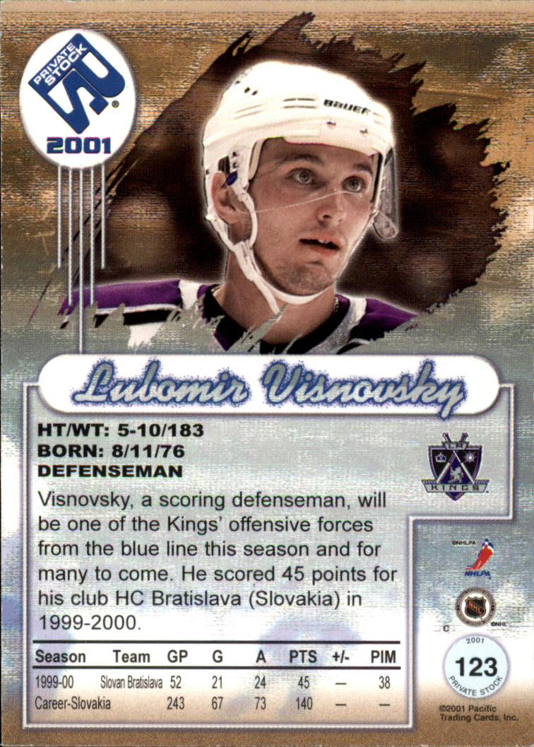 2000-01 Private Stock #123 Lubomir Visnovsky RC back image