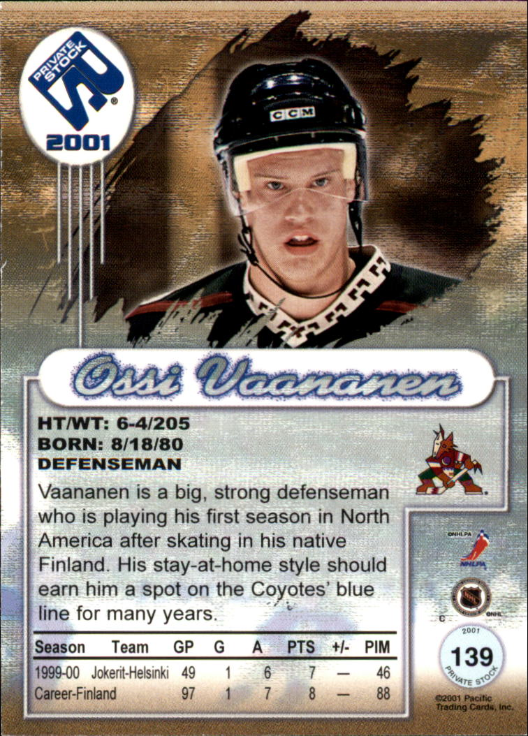 2000-01 Private Stock #139 Ossi Vaananen RC back image