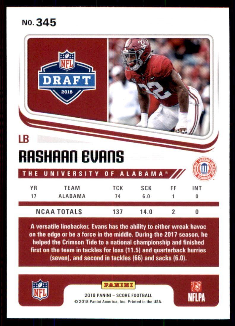 2018 Score #345 Rashaan Evans Alabama Crimson Tide Rookie RC Football Card