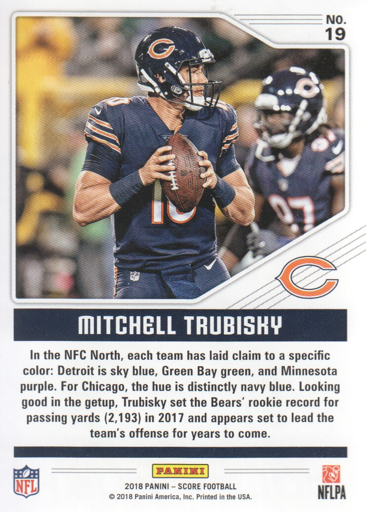 c382056a1 2018 Score Football Color Rush  19 Mitchell Trubisky Chicago Bears. Front.  Back