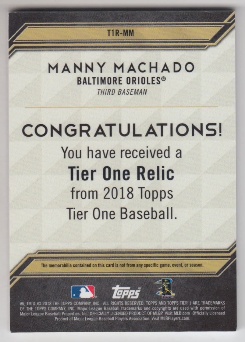 2018 Topps Tier One Relics #T1RMM Manny Machado/400 back image