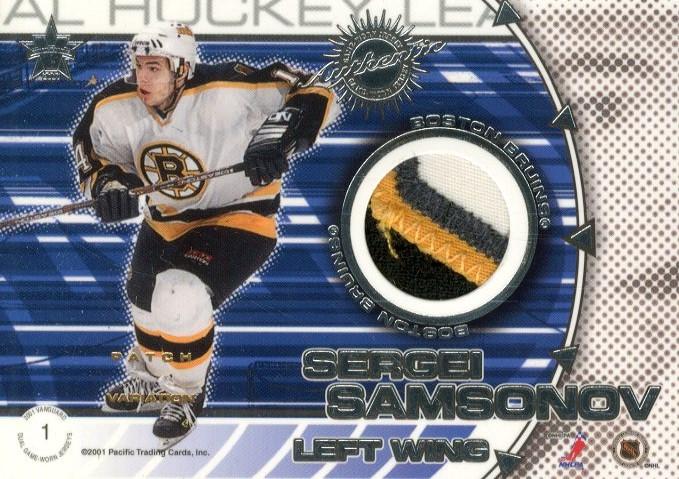 2000-01 Vanguard Dual Game-Worn Patches #1 Joe Thornton/Sergei Samsonov/300 back image