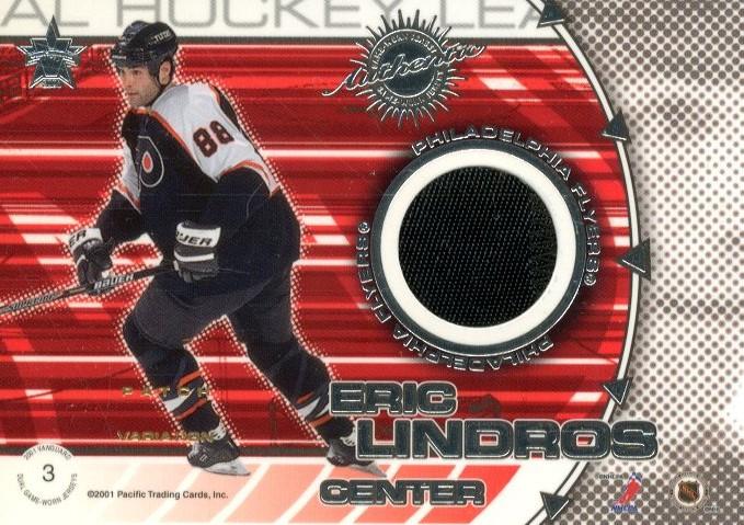 2000-01 Vanguard Dual Game-Worn Patches #3 Joe Sakic/Eric Lindros/100 back image