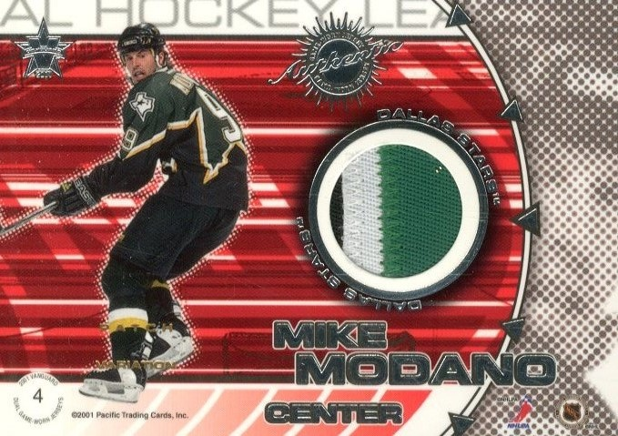 2000-01 Vanguard Dual Game-Worn Patches #4 Derian Hatcher/Mike Modano/300 back image
