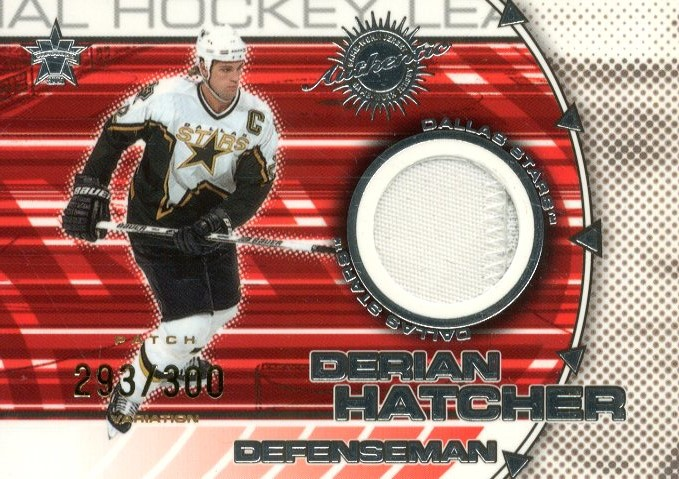 2000-01 Vanguard Dual Game-Worn Patches #4 Derian Hatcher/Mike Modano/300