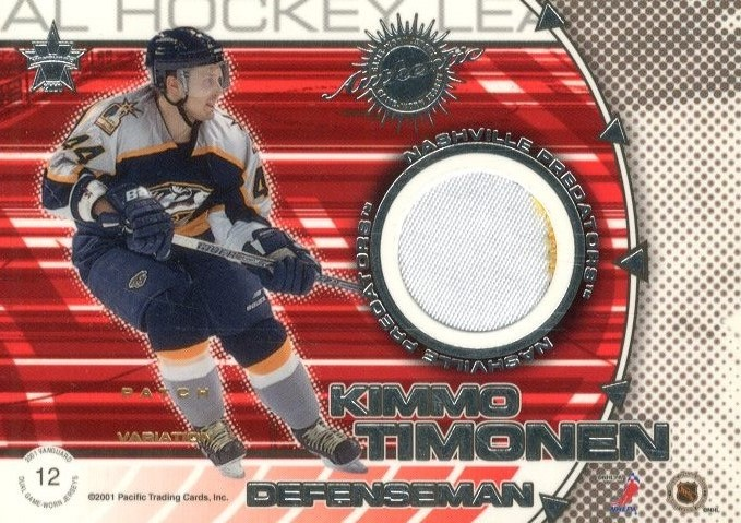 2000-01 Vanguard Dual Game-Worn Patches #12 Tom Fitzgerald/Kimmo Timonen/300 back image