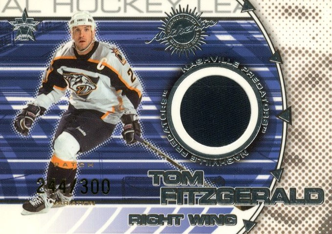 2000-01 Vanguard Dual Game-Worn Patches #12 Tom Fitzgerald/Kimmo Timonen/300