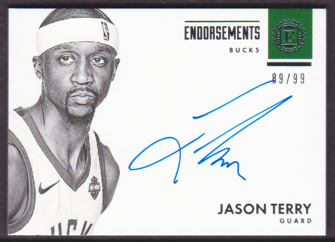 2017 18 Panini Encased Endorsements E JTY Jason Terry Auto 89 99 Bucks