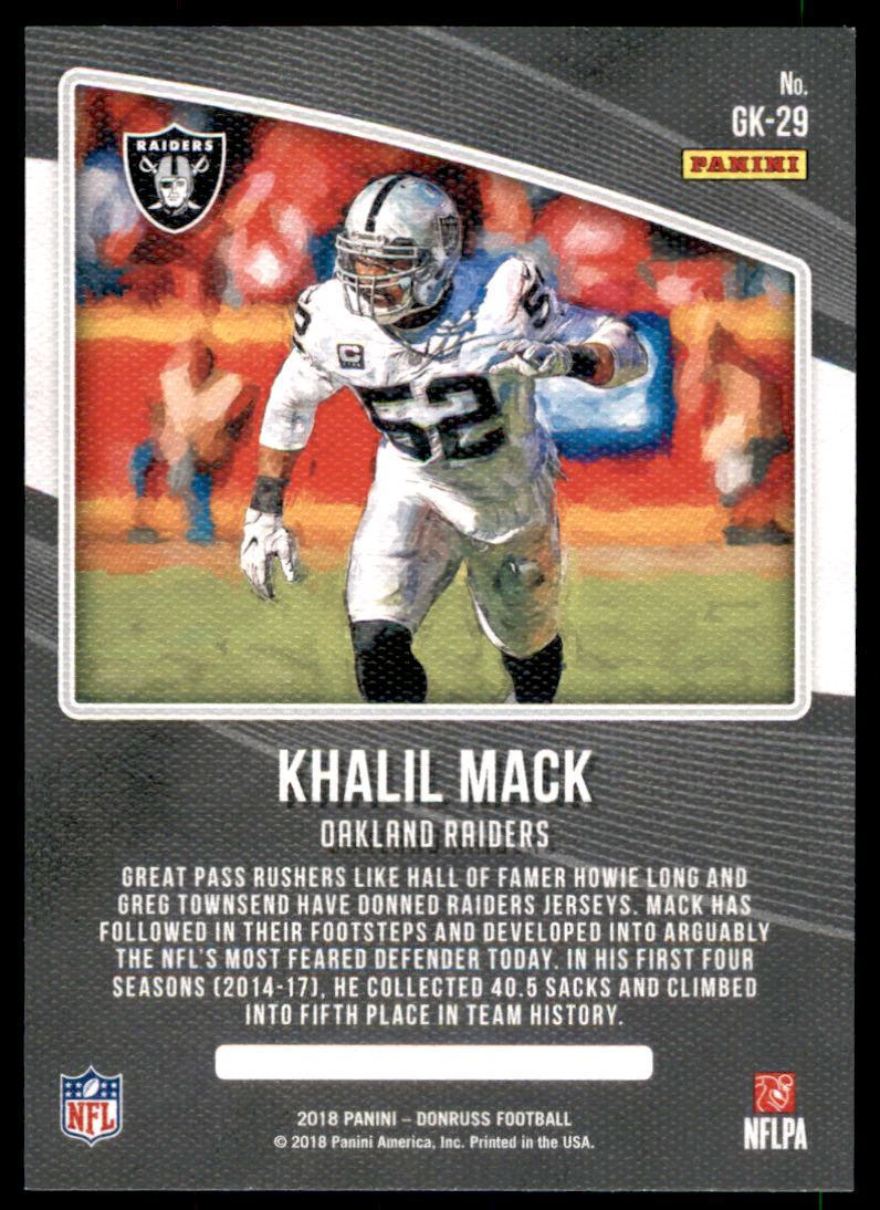 f218d333b72 2018 Donruss Gridiron Kings  29 Khalil Mack. Front. Back