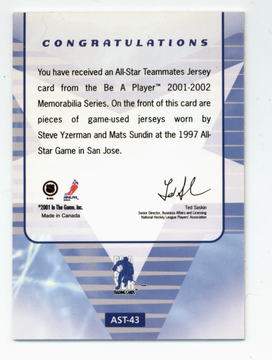 2001-02 BAP Memorabilia All-Star Teammates #AST43 Steve Yzerman/Mats Sundin back image