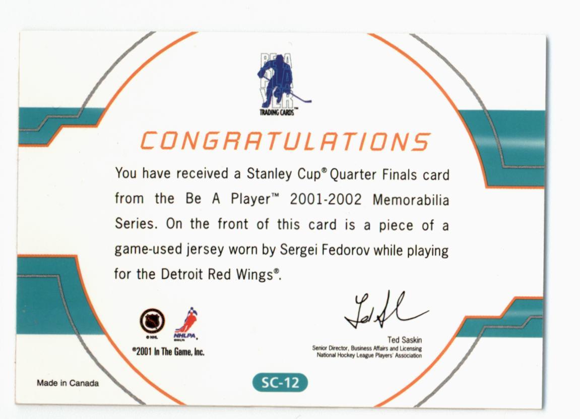 2001-02 BAP Memorabilia Stanley Cup Playoffs #SC12 Sergei Fedorov/95 back image