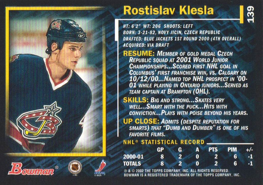 2001-02-Bowman-YoungStars-Ice-Cubed-Parallel-Hockey-Cards-Pick-From-List miniature 133