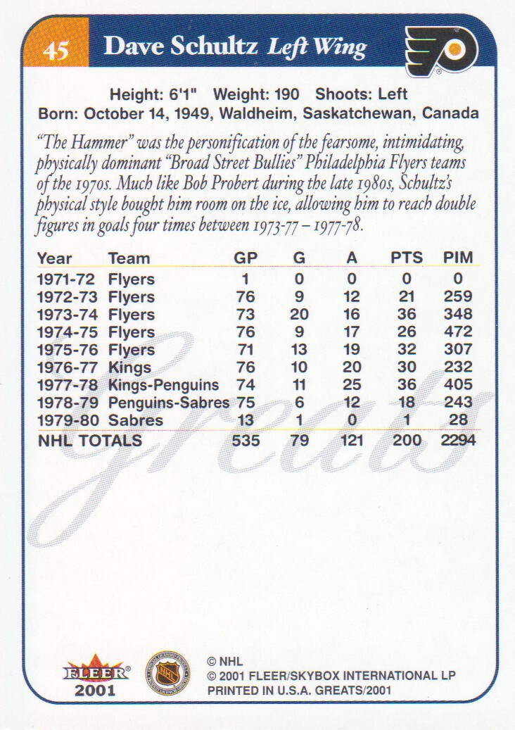 2001-02 Greats of the Game #45 Dave Schultz back image
