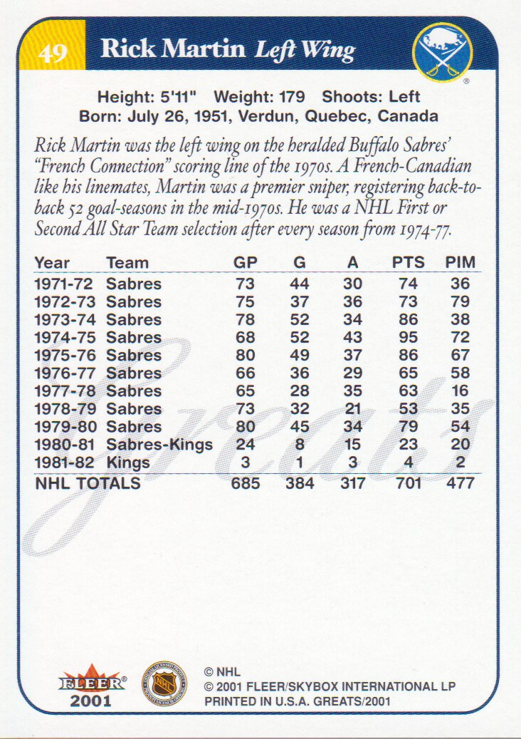 2001-02 Greats of the Game #49 Rick Martin back image