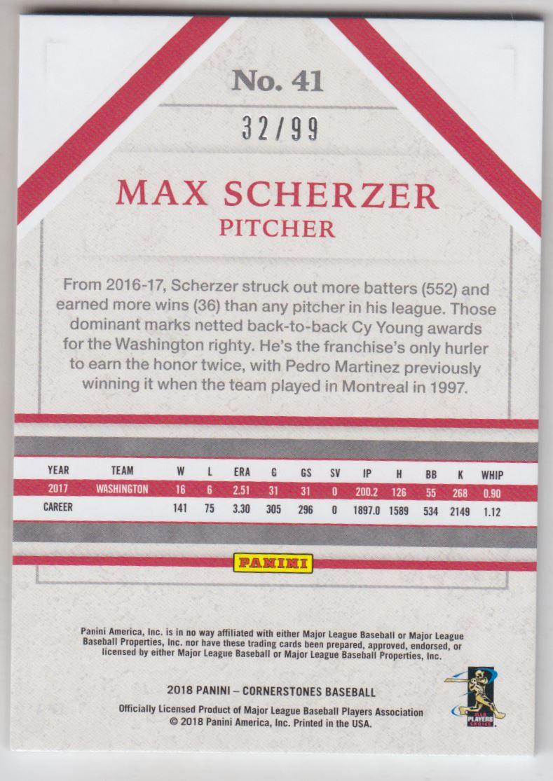 2018 Panini Cornerstones #41 Max Scherzer back image