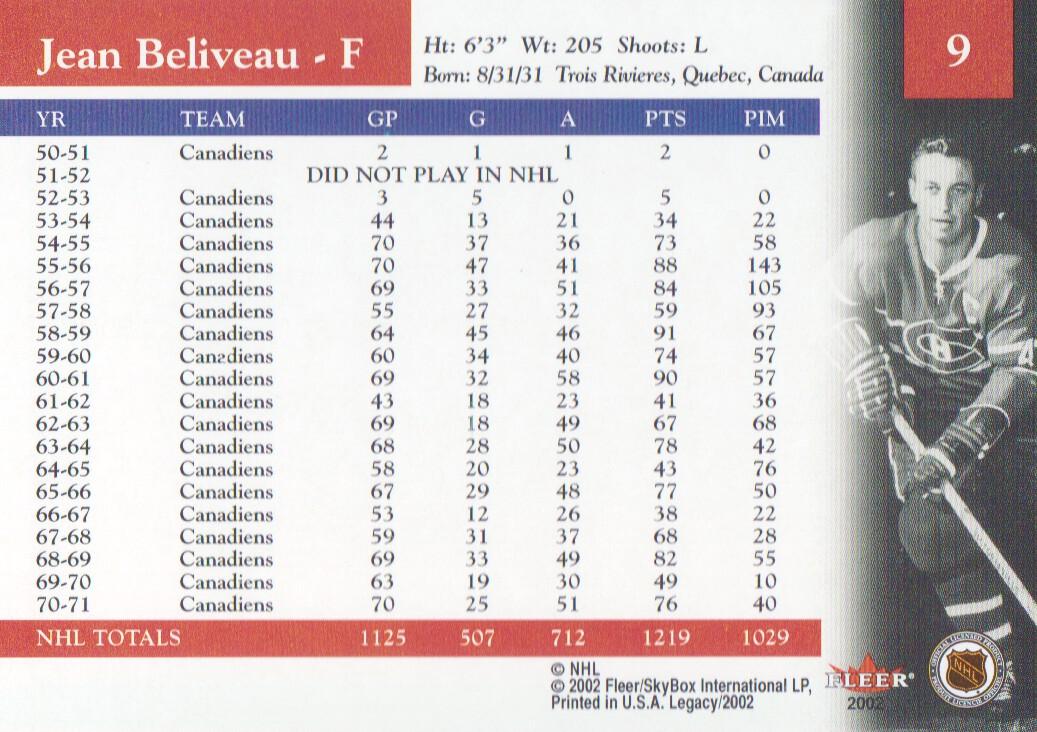 2001-02 Fleer Legacy #9 Jean Beliveau back image