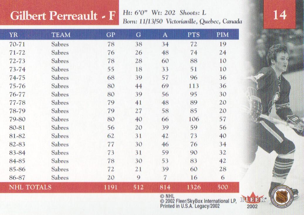 2001-02 Fleer Legacy #14 Gilbert Perreault back image
