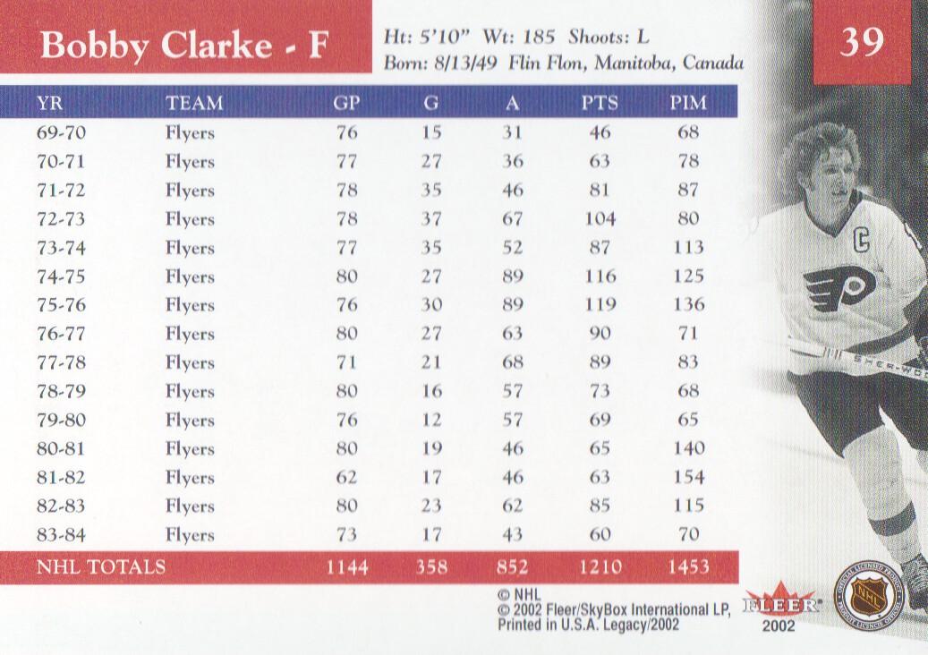 2001-02 Fleer Legacy #39 Bobby Clarke back image