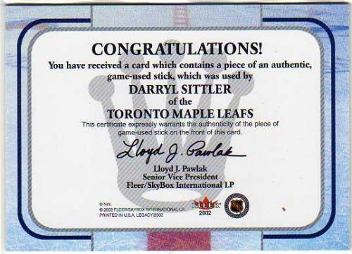 2001-02 Fleer Legacy Memorabilia #23 Darryl Sittler STK back image